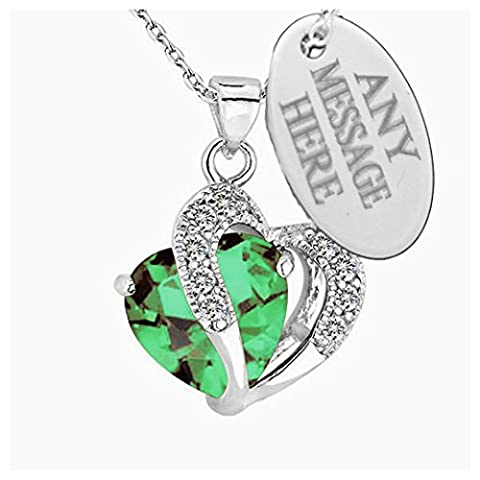 Personalised Engraved Birthstone Necklace Jewellery Love Heart Pendant With Swarovski Crystal (May)