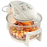 VonShef Premium Halogen Oven Cooker with Hinged Lid - 12L Health Fryer with Full Accessories Pack, Timer & Extender Ring. - Electric, 1400W