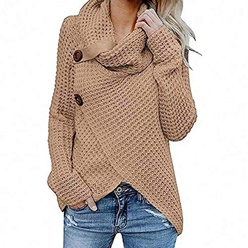 Coogel Womens Sweaters Casual Turtle Cowl Neck Chunky Cable Knit Irregular Coat Button Tops (Khaki)