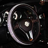 seemehappy Sparkly Rhinestone Steering Wheel Cover Leather Wheel Cover For Girls (Black)