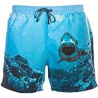 Hugo Boss Black Mens Swordfish Swimshorts, Underwater Shark Scene Blue Swimming Trunks