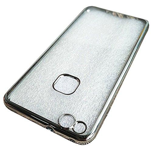 """Huawei P10 Lite (5.2"""") Hülle, MSVII® Durchsichtig Weich TPU Silikon Bumper Hülle Schutzhülle Case Und Displayschutzfolie für Huawei P10 Lite (5.2"""") - Rose Gold JY60005 Silber"""