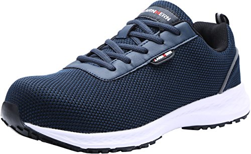 LARNMERN Scarpe Antinfortunistica Uomo Leggere, LM-310, SRC EH Sneaker da Lavoro Antiscivolo Traspirante Punta in Acciaio Scarpe Riflettente(Blu,45 EU)