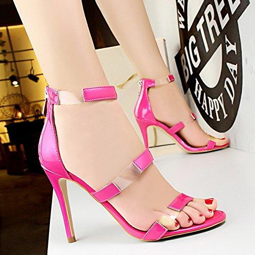 LGK&FA Un Simple Bouton Percé Orteil DUn Amende Rome Tous-Match Female High-Heeled Sandals 37 rose red