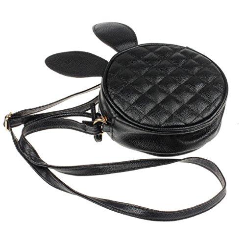 BZLine® Frauen Mädchen Kaninchen Ohr runden Leder Handtasche Umhängetasche Taschen, 16*16*6cm Schwarz