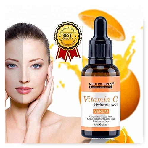 Serum Viso, Vitamin C, mit Hyaluronsäure, Anti-Aging, Anti-Falten, Anti-Schwellung, feuchtigkeitsspendend, pflegend, geruchsneutral, weißend, 100% natürlich -