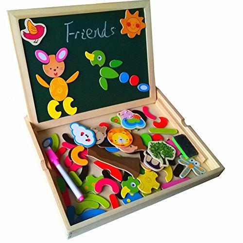 Educativi Giocattolo Puzzle Magnetica Lavagnetta di Legno mit Doppio Lato Gioco per Bambini 3 Anni