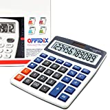 OFFIDIX oficina calculadora oficina escritorio calculadora, Solar y batería Dual Power electrónico calculadora portátil pantalla LCD grande de 12dígitos calculadora