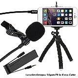 Microphone Lapel Lavalier Omnidirectional Condenser Mic avec Flexible Mini Octopus Trépied