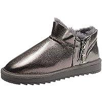 SKYROPNG Zapatos Invierno Mujer Botas De Nieve,Moda Pan Gris Oscuro Zapatos Botines Espesar Suave Caliente Botas De Algodón Confortable Piso Bajo Exterior Antideslizante Ayuda Mujeres 36