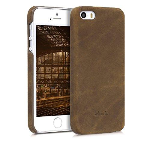 kalibri-Echtleder-Backcover-Hlle-fr-Apple-iPhone-SE55S-Leder-Case-Cover-Schutzhlle-in-Braun