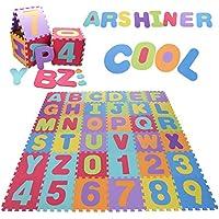 Arshiner Alfombra Infantil de Puzzle Goma EVA 36 Piezas Desmontables Manta de Puzzle de Espuma Gigante de Suelo Alfabeto y Números para Niños - Peluches y Puzzles precios baratos