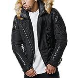 Burocs Herren Winter-Jacke Kunstleder Gesteppt Zipper Fell-Kapuze BR1620, Farbe:Schwarz, Größe:L (fällt Kleiner aus)
