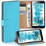 moex Samsung Galaxy S5 | Hülle Türkis mit Karten-Fach 360° Book Klapp-Hülle Handytasche Kunst-Leder Handyhülle für Samsung Galaxy S5 / S5 Neo Case Flip Cover Schutzhülle Tasche