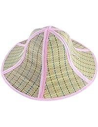 sourcingmap Tissu Femmes été Large Bord Pliable Paille tressé Chapeau Rose