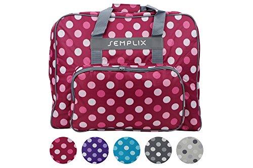 SEMPLIX XL-Nähmaschinentasche, Polka Dots Beere/Rosa, 52x42x27 cm | Große stabile Transport und Aufbewahrungs Tasche für große Nähmaschinenmodelle