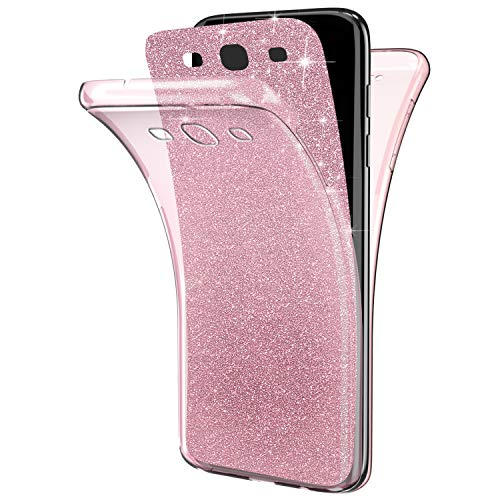 EUWLY Coque Galaxy S3,Coque Silicone Gel 360 Protection intégral Samsung Galaxy S3 Glitter Etui Avant + Arrière Paillette Housse Souple TPU Full Protection Cover Integrale,Rose