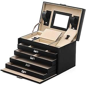 songmics jbc001 bo te bijoux coffret bijoux grande contenance 30 5x20x20 5cm 5 tages avec 4. Black Bedroom Furniture Sets. Home Design Ideas