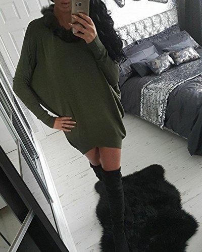 Femme Manches Chauve-souris Couleur Unie Loose Col De Fourrure Robe Vert armée