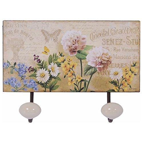 Ellas-Wohnwelt Florale Metall Garderobenhaken Vintage 2er Hakenleiste Kleider- Handtuchhaken Floral Aus Metall