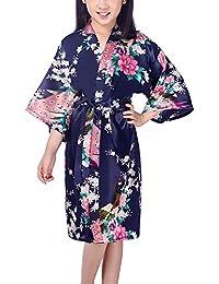 Dolamen Kinder Mädchen Morgenmantel Kimono Satin Nachtwäsche Bademantel Robe Peacock Blume Negligee Schlafanzug Schwimmen Hochzeit Geburtstag