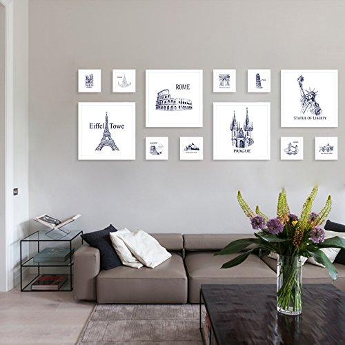Hjky photo frame set foto decorazione murale da parete soggiorno an der wand, creativo moderno, minimalista parete in der stanze foto parete attrezzata, 4di white box