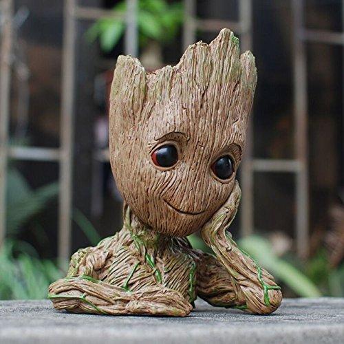 Meiqils Baby Groot Maceta Figura de acción con Forma de Maceta y lápiz para niños Figuras de la Olla de Galaxy Modelo de bebé Lindo Juguete Pen Pot