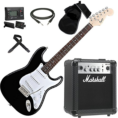 FENDER Squier Stratocaster SET chitarra elettrica + Amplificatore MARSHALL MG10CF Carbon Fiber
