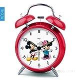 LTOOD Japanische und koreanische Nette metallwecker kreative stumm leuchtende Lampe Mode Cartoon Student Bett kleine wecker einfache Uhr, rot Mickey Mouse