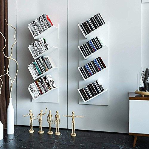 Buyi-world libreria da muro 2 mensole espositore porta libri, cd, documenti, scaffale designed moderno da parete 33 x 15 x 90cm bianco