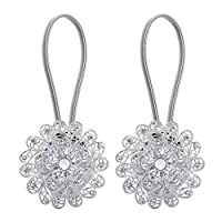 Lewondr 1 Pair Sparkling Crystal Flower Curtain Tieback, Magnetic Drapery Holder Stretchy Curtain Buckle Clips Curtain Bind with Stainless Spring Wire - Silver
