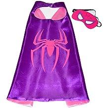 Pink Spider Girl Super Héroes de disfraces para niños - Cape y máscara - Juguetes para niña - Spider Girl Disfraz Para Niños de 3 a 10 años - para Fasching o temática de fiestas. Mungo - King - kmsc010