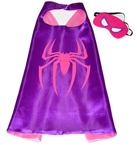 Pink Spidergirl Superhelden-Kostüme für Kinder - Cape und Maske - Spielsachen für Mädchen - Spidergirl Kostüm für Kinder von 3 bis 10 Jahre - für Fasching oder Motto-Partys! - King Mungo - KMSC010