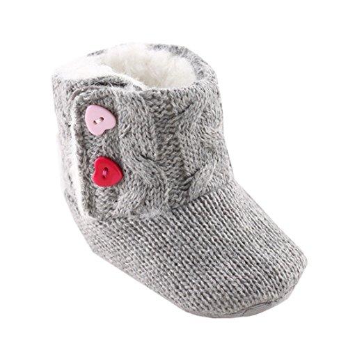 Ularmo Schuhe für 3-18 Monate Baby, Winter-weich Sohle Krippe Warm Knopf Wohnungen Cotton Boot-KLEINKIND prewalker Schuhe (13cm(12-18 Monate))