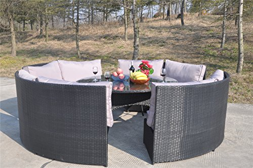 Yakoe 10 Seater Round Dining Set Rattan Garden Furniture. Yakoe 10 Seater Round Dining Set Rattan Garden Furniture Patio