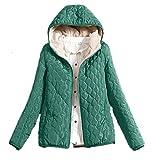 Lazzboy Damen Warmer Jacke mit Kapuze Winterjacke SAMT Wattierte Steppjacke(Grün,38)