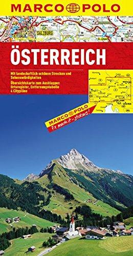 Autriche - Carte routière et touristique - Avec plans des centres-villes de Graz, Innsbruck, Salzburg, Wien (Vienne) - Echelle : 1/300 000