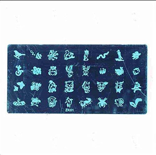 NEW Nail Art Pochoir Stamping XL zk-1 01 Accessoire Manucure Kit Ongles Extra Large pour ongles Design d'entretien