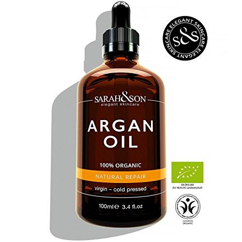 Premium Bio Arganöl 100ml - reines Naturkosmetik Anti-Aging Pflege Serum für Gesicht, Haut & Haare - kontrolliert biologisch - nativ, kalt-gepresst - Einführungspreis