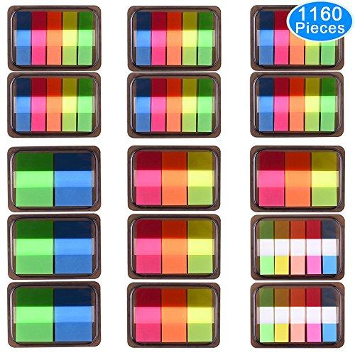 AUSTOR 1160 Piezas Separadoras Adhesivas Pop-up Pestañas de índice de Banderas Emergentes Marcador de Página, 15 Conjuntos 4 Tamaños
