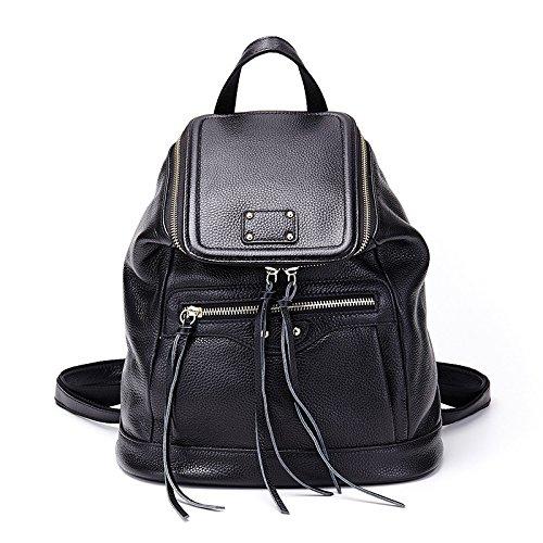Mefly Onorevoli Vera Pelle Borsa A Tracolla Per Donna Colore Puro Grande Capacità Benna Bag Black black
