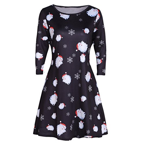 Damen Weihnachten Swing Kleid ,OverDose Frauen Damen Weihnachten Santa Party Kleid Damen Schneemann A-Linie Mini Kleider (XL,C)