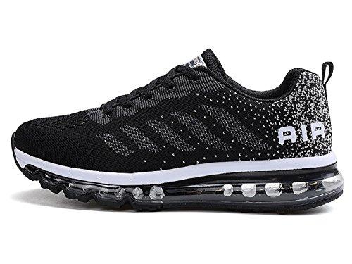 tqgold Unisex Herren Damen Sportschuhe Laufschuhe mit Luftpolster Turnschuhe Profilsohle Sneakers Leichte Schuhe (Schwarz,44 EU)