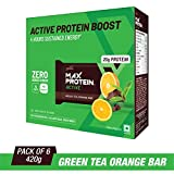 RiteBite Max Protein Active Green Tea Orange Bars 420g Pack of 6 (70g x 6)