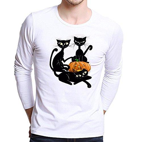 ZIYOU Herren Übergröße Langarmshirts für Halloween, Männer Rundhals Lange Ärmel T-Shirt Beiläufig Pullover Oberteil Streetwear Tops Frühling Herbst (XL,F)