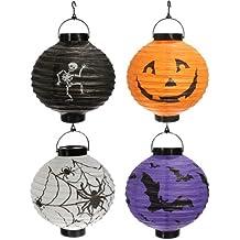 SODIAL (R) 4x zucca di Halloween Spider Bat Skeleton Paper Lanterns della decorazione del partito della lampada