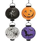 SODIAL (R) 4x Halloween-Kuerbis Spinne Fledermaus Skelett Lampe Lampions Dekoration Party