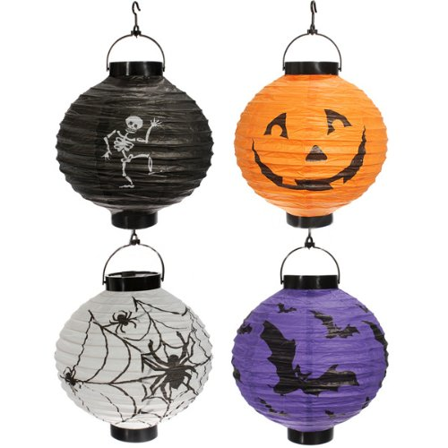 SODIAL (R) 4x Halloween-Kuerbis Spinne Fledermaus Skelett Lampe Lampions Dekoration Party (Skelett Halloween Dekoration)