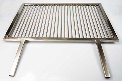 PREMIUM Grillrost Edelstahl 54 x 34 cm + 2 feste Griffe Handarbeit V2A 1.4301