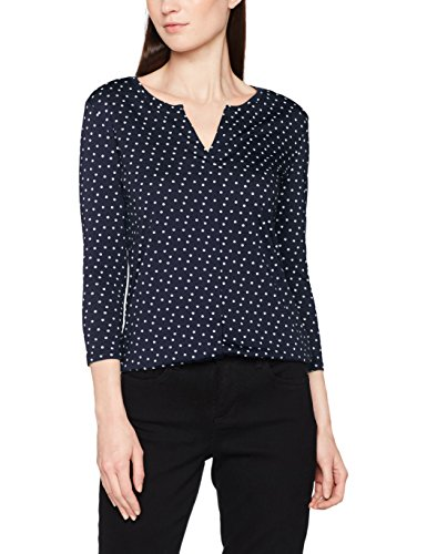 TOM TAILOR Damen Bluse Draped Open Blouse Shirt, Blau (Real Navy Blue 6593), 36 (Herstellergröße: S)